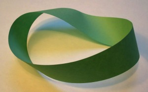 A mobius strip - the strip of paper contains just one twist.