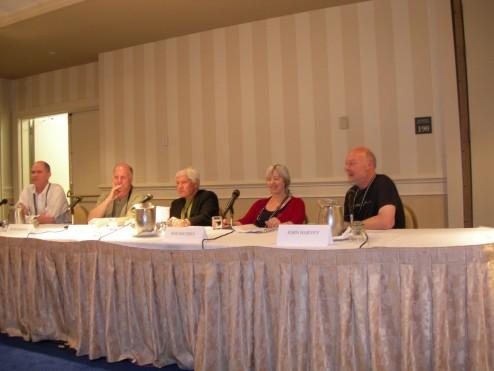 Thomas B. Kavanagh, Peter Robinson, moderator Don Bruns, Roz Southey, and John Harvey