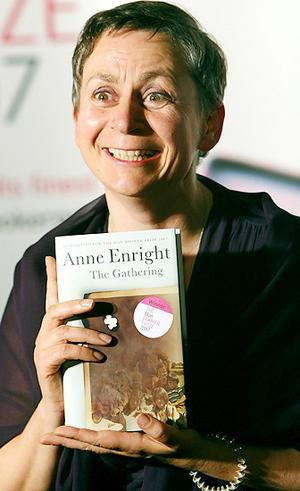 Anne Enright, clutching her Man Booker Prize winning novel, The Gathering - anneenright_narrowweb__300x4910
