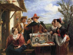 Autolycus displays his wares in a painting by Charles Robert Leslie (1836)