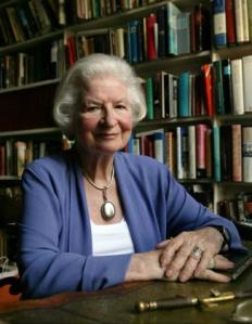 P.D. James, in her home in west London