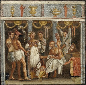 Choirmaster and actors, from Pompeii