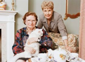 P.D. James, Ruth Rendell, and a most excellent feline!