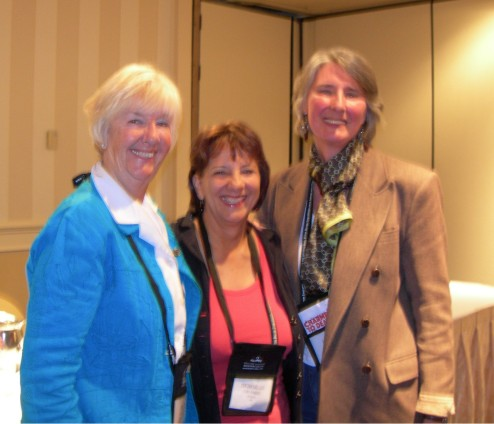 "Leftt to right: Rhys Bowen, Deborah Crombie, and Louise Penny, who as ""Three Goddesses"" entertained us hugely at Bouchercon last October"