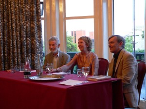 Left to right: Stuart Pawson, Ann Cleeves, and Martin Edwards