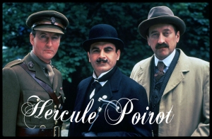 Left to right: Hugh Frasier as Captain Arthur Hastings, David Suchet as Hercule Poirot, and Philip Jackson as Inspecotr Japp
