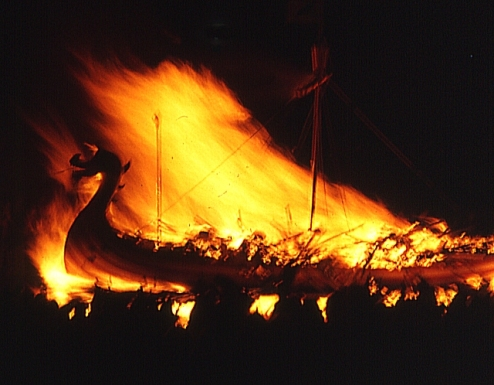 UpHelly Aa, 1973: the burning of the galley. Photo by Anne Burgess