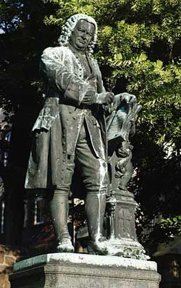 Statue of Bach in Eisenach, Germany, the city of his birth