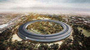 Artist's rendering of Apple's new campus, now slated to open  in 2016