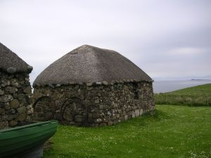 Restored blackhouse in a museum on Trotternish, Skye