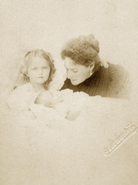 Empress Alexandra, Grand Duchess Olga, andd the infant Maria, 1899