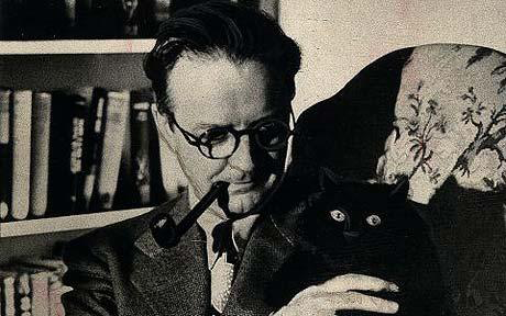 Raymond Chandler with Taki, a much beloved pet