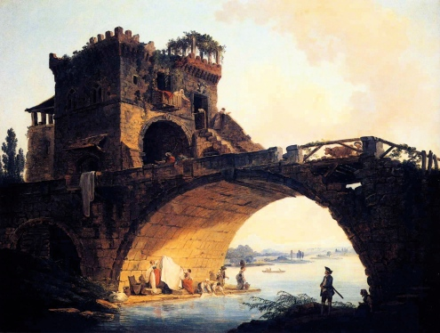 The Ponte Solario (The Old Bridge) - Hubert Robert