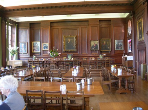 The Dining Hall at Oxford's Somerville College. Our tour group had the honor of lunching there.
