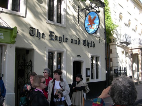The famous Eagle and Child Pub, est. 1873 and still going strong  [That's me, in the center, wearing sunglasses and a red sweater set.]