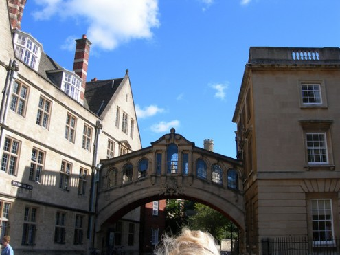 The famous Bridge of Sighs, modeled on the original in Venice