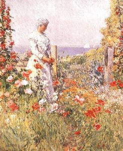 Celia Thaxter in her garden, painted by her friend Childe Hassam