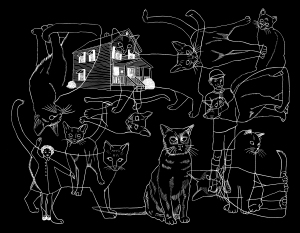 Endpapers for the book Ghostly