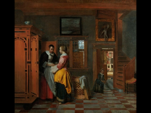 Interior with Women Beside Linen Chest, by
