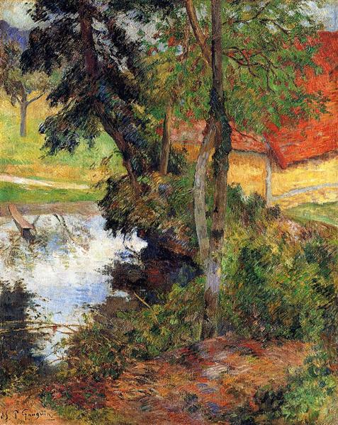 Red Rood by the River, by Paul Gauguin