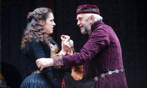 Jonathan Pryce as Shylock remonstrates with his daughter Jessica (Phoebe Pryce, who is Jonathan Pryce's daughter in real life)
