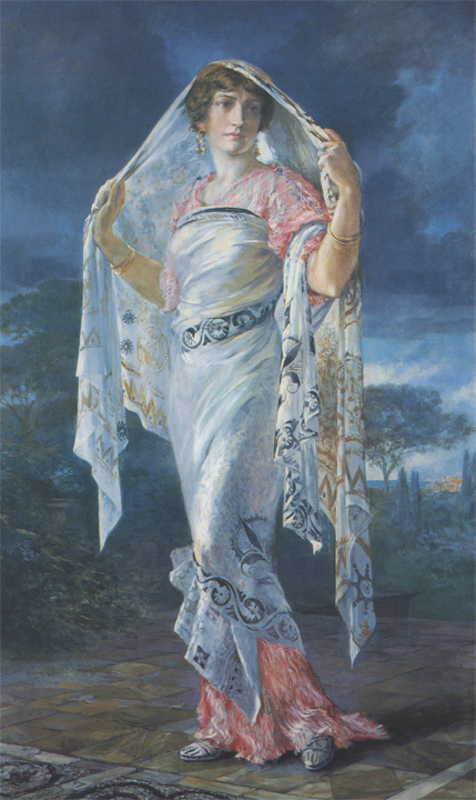 Ritratto di Henriette Fortuny in costume pompeiano (Henriette was Fortuny's wife; they worked as a team on many of his projects.)