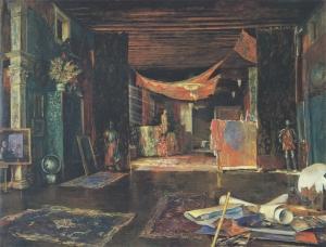 Interno dell'atelier del pittore a palazzo Pesaro-Orfei a Venezia