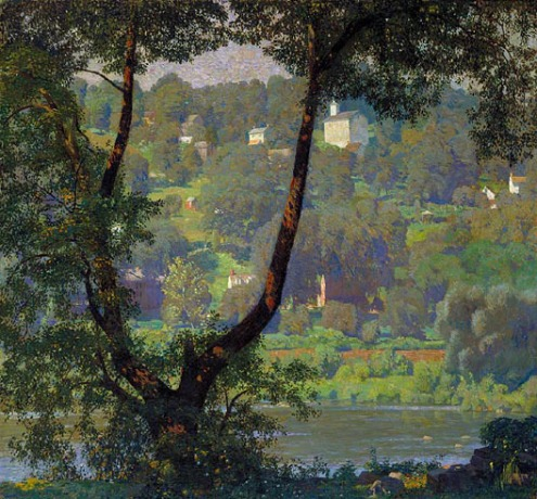 "Tohickon, by Daniel Garber. Of Garber, Emsworth says that ""...his paintings tend to have a magical, mystical quality about them."""