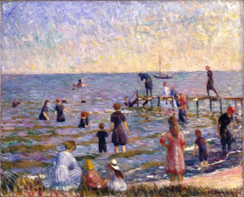 Bathing at Bellport, by William Glackens