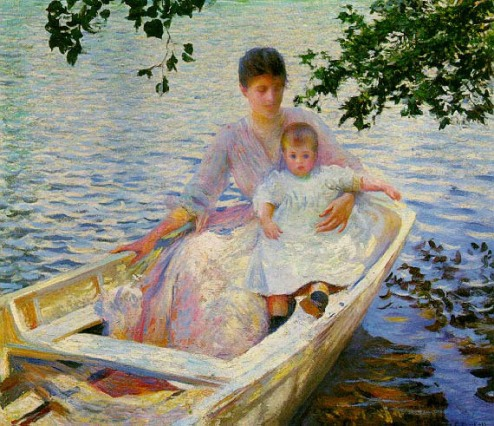 Mother and child in a boat, by Edmund C Tarbell