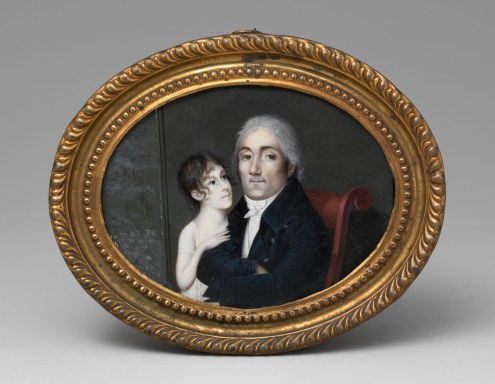 Portrait of a Gentleman and His Daughter by Francois M Guyal de Guiron, ca 1805
