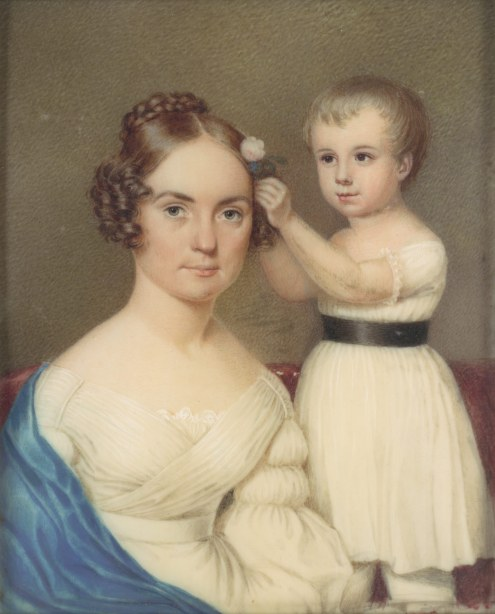 Mrs William Gordon Ver Planck and Her Son Samuel Hopkins Ver Planck, ca 1828
