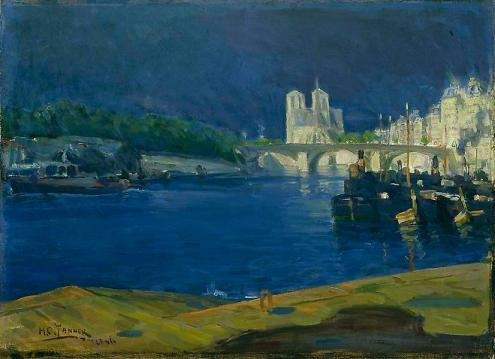 View of the Seine Looking Toward Notre Dame, 1896