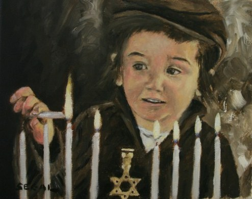 Child Lighting Hanukkah candles