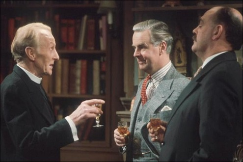 Ian Carmichael, center, as Lord Peter, with Donald Eccles, left, as the Reverend Venables